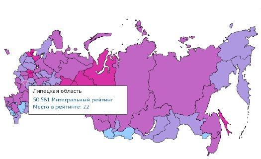 Липецкая область на карте россии